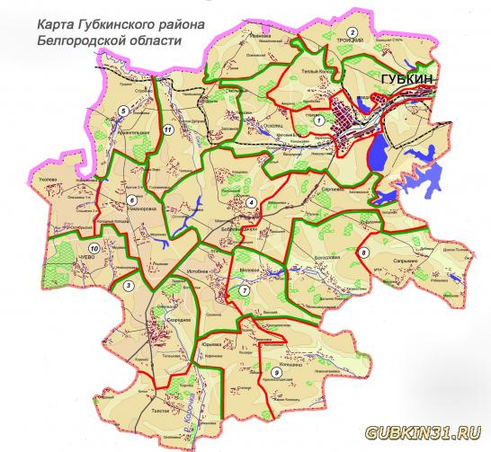 Карта Губкинского района